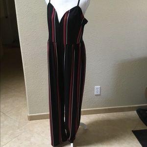Express Black Romper w/Vertical Stripes Size L